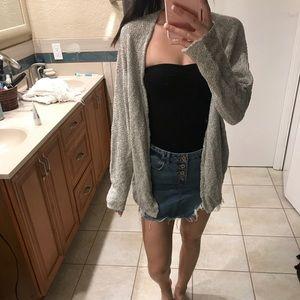 Heathered grey cardigan